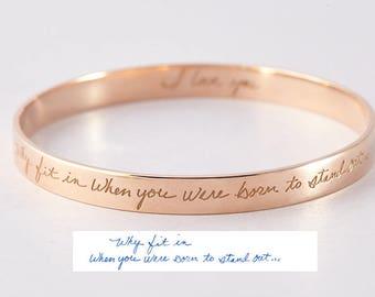 Handwriting bracelet • Custom handwriting jewelry • Handwritten bangle cuff in sterling silver • Handwritten cuff bangle CHB08