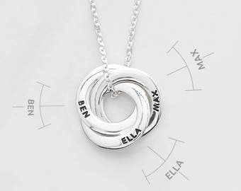 Dainty mother necklace • Circle of love necklace • Children's names necklace • Mother jewelry • Gift for mom • Mother of 3 CMN06-08