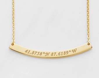 Bar Coordinates Necklace • Latitude Longitude Necklace • Coordinates Gift • GPS Necklace • Necklace with Coordinates CCN08