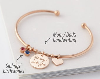 Handwriting Bracelet with Siblings' Birthstones • Memorial Jewelry • Signature Bracelet • Sentimental Gift • Sister Gift