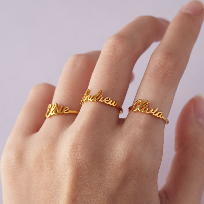 55964bd12af3f Stackable Mother Ring • Rose Gold Name Rings • Silver Stackable Ring Set •  Stacking Name Ring • Gift for Mom wi Kid Names • Baby Shower Gift