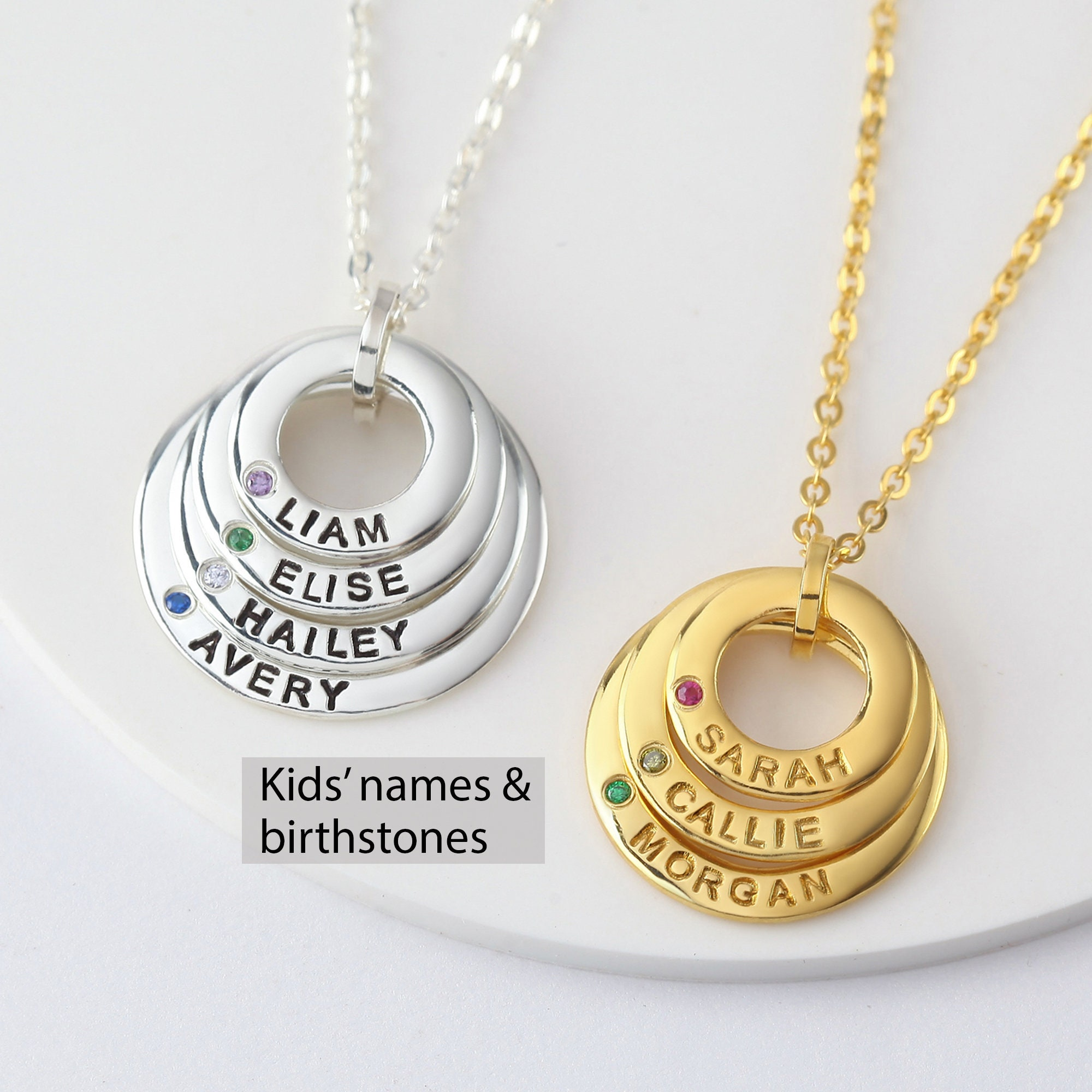 Family necklace Mom necklace Personalized Grandma gift Gift from daughter Jewelry for grandma with kids birthstone