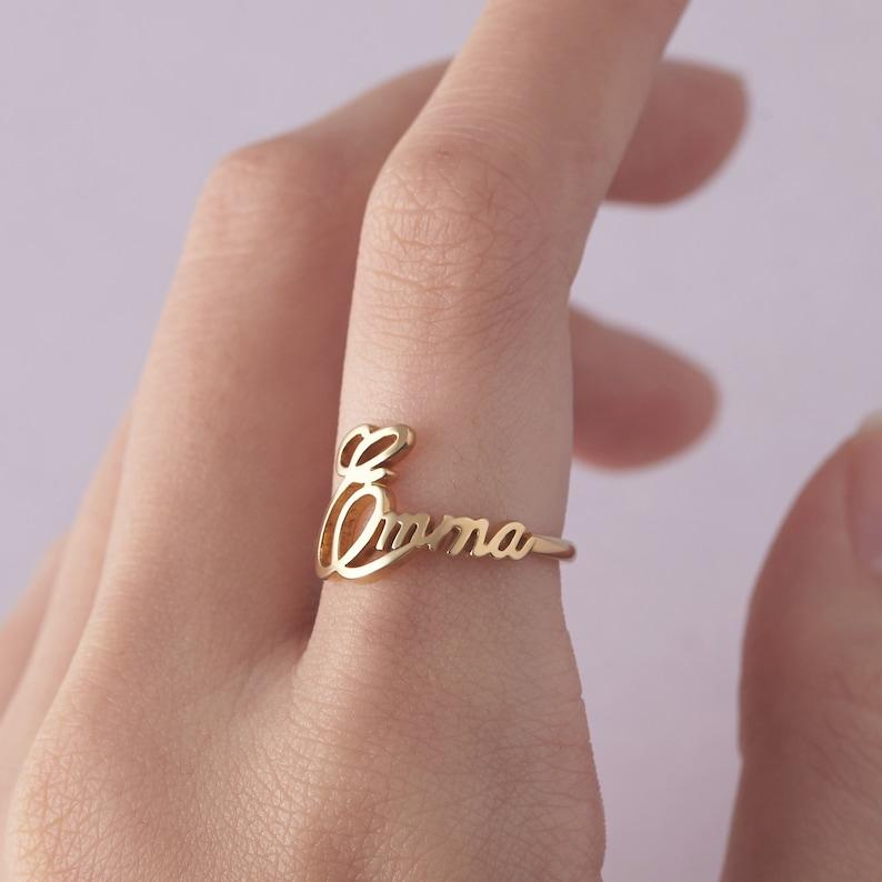 4b0d75ba2 Child Name Ring For Mom Custom Name Ring Cursive Name Ring image ...