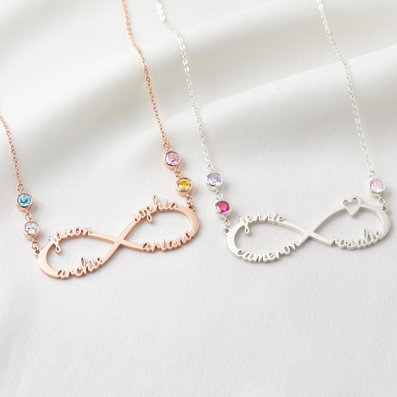 Infinity Birthstone Necklace Infinity Necklace With Kids Names Mother Day Gifts From Daughter Mom Jewelry Mother Birthstone Jewelry