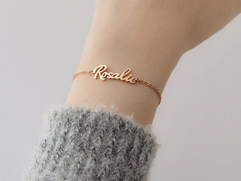 894daffaa6659 Cursive Name Bracelet Silver, Personalized Name Jewelry, Custom Bridesmaids  Gift, 17th Birthday Gift For Teen Girl, Best Friends Bracelets