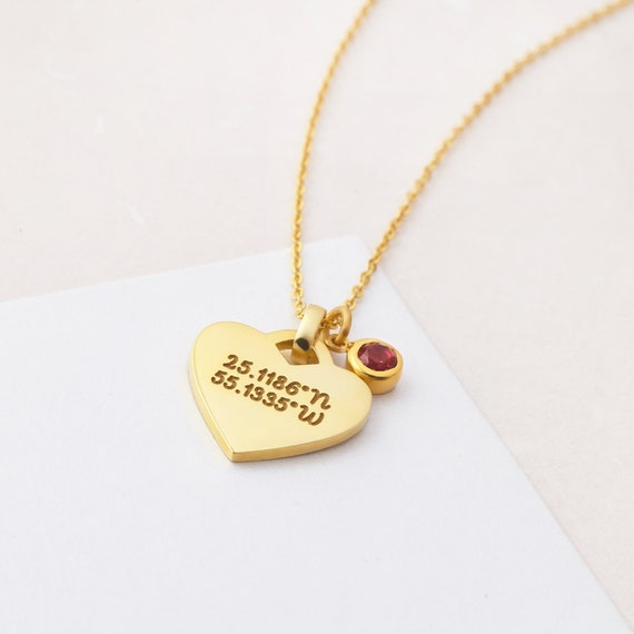 Gps Coordinates Necklace: Heart Coordinates Necklace With Birthstone Latitude