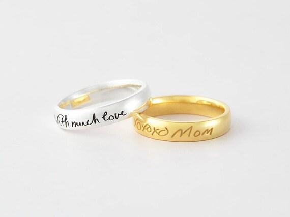Tatsachliche Handschrift Ring Personalisierte Denkmal Ring Etsy