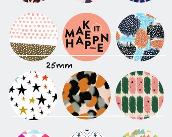 Make it happen 12 pictures/drawings/collages CT114 digital 30/25/20/18/16/15/14/12/10/8 mm cabochon round/square/oval