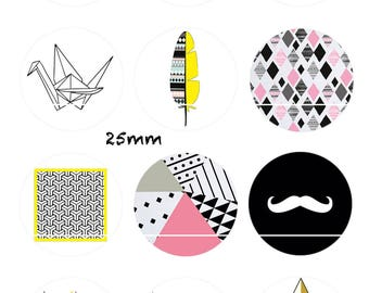 CT42 Triangle and mustache 12 Digital Images/designs for 30/25/20/18/16/15/14/12/10/8 mm cabochon round/square/oval