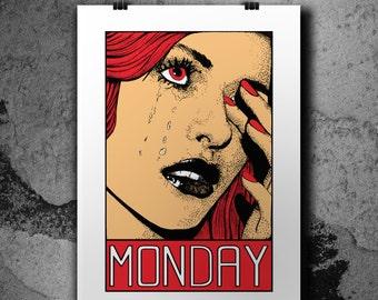 Monday - 3 Colors Handpulled Silkscreen Poster