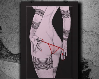 Red Panty Night - Lilac variant - Screenprint poster