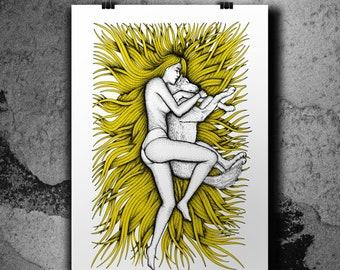 Artemide (Gold yellow) - Screen print poster