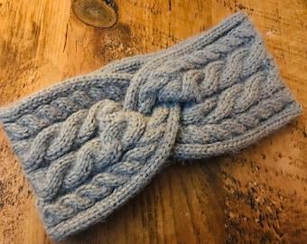 Grey chunky Knit headband, knitted, hairband, winter headband, ear warmers, turban style, handmade in the UK, gift for her, woolly headband