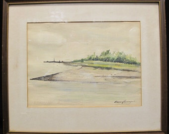 Listed Artist Bruce Penney New England Beach Watercolor