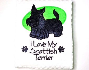 Scottie Dogs Hand Embroidered Muslin Dish Towels  Set of 7 #Item 138