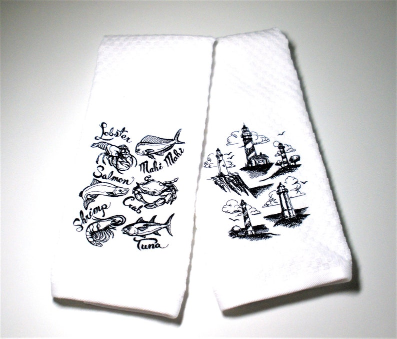Ocean Towel Set Lighthouse And Seafood New England Decor The Shore