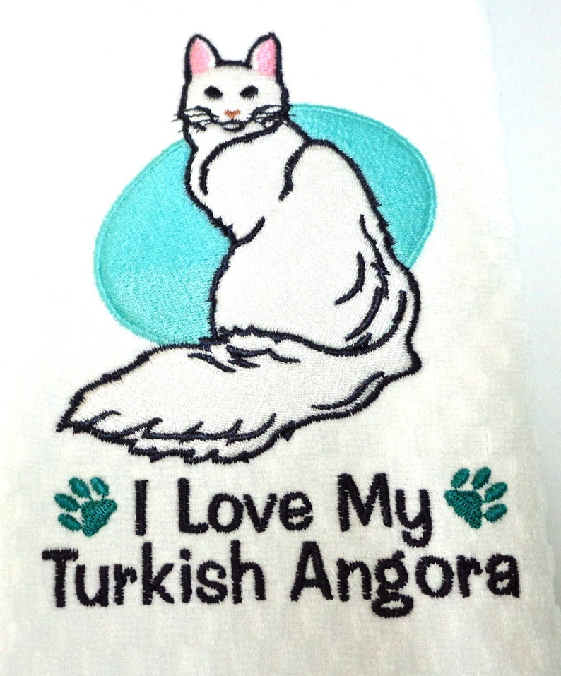 fac025f819b5d6 Turkish Angora Cat Kitchen Towel Angora Owner Gift