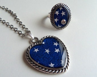 Silver Heart Necklace Starry Night Necklace Upcycled Recycled Repurposed Italian Sweet Wrapping Necklace Resin Jewellery