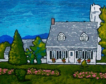 """House on Île d'Orléans (ORIGINAL ACRYLIC PAINTING) 5"""" x 7"""" by Mike Kraus"""
