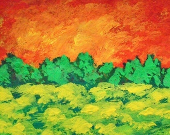 """Sunset Meadow #213 (ARTIST TRADING CARDS) 2.5"""" x 3.5"""" by Mike Kraus"""