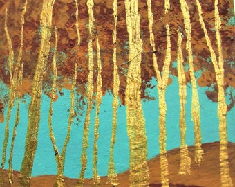 """Twilight Woods #291 (ARTIST TRADING CARDS) 2.5"""" x 3.5"""" by Mike Kraus - mother's day aceo blue yellow brown forest wood trees nature hikes"""