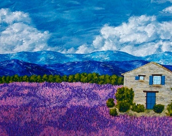 "Lavender Farm (ORIGINAL ACRYLIC PAINTING) 16"" x 40"" by Mike Kraus"