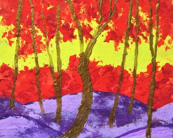 """Twilight Woods #285 (ARTIST TRADING CARDS) 2.5"""" x 3.5"""" by Mike Kraus - aceo red purple forest woods trees nature hike trails hiking beauty"""