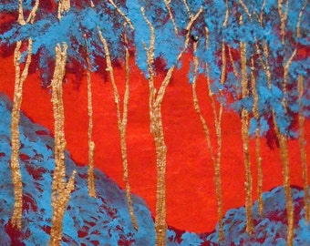 """Twilight Woods #212 (ARTIST TRADING CARDS) 2.5"""" x 3.5"""" by Mike Kraus"""