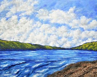 "Hemlock Lake (ORIGINAL ACRYLIC PAINTING) - 8"" x 10"" by Mike Kraus - art upstate new york rochester ny buffalo syracuse summer christmas xmas"