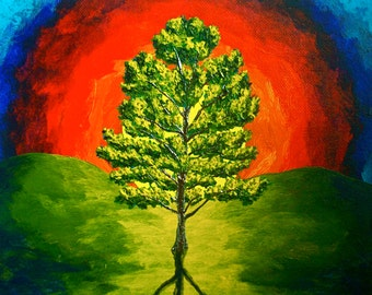 """The Loblolly Pine (ORIGINAL ACRYLIC PAINTING) 8"""" x 10"""" by Mike Kraus"""