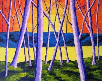 """ORIGINAL ACRYLIC PAINTING Twilight Woods by Michael Kraus 8"""" x 10"""" - home decor trees forest woods house nature yellow red purple blue fun"""