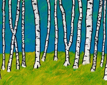 Blue and Green Birch Forest (ORIGINAL DIGITAL DOWNLOAD) by Mike Kraus
