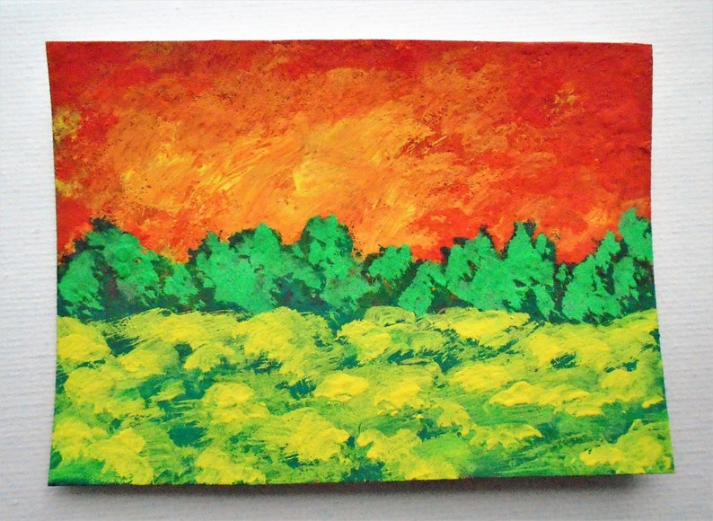 ARTIST TRADING CARDS 2.5 x 3.5 by Mike Kraus Sunset Meadow #213