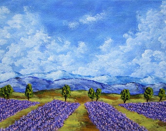 "Field of Lavender (ORIGINAL ACRYLIC PAINTING) 5"" x 7"" by Michael Kraus"