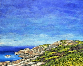 """Leaving Donegal, Ireland (ORIGINAL ACRYLIC PAINTING) 8"""" x 10"""" by Mike Kraus - art decor landscape small blue seascape wow St Patrick's Day"""