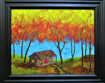 """Cabin In Treman State Park (ORIGINAL ACRYLIC PAINTING) 8"""" x 10"""" by Mike Kraus - art fall autumn trees forest woods cottage house home trails"""