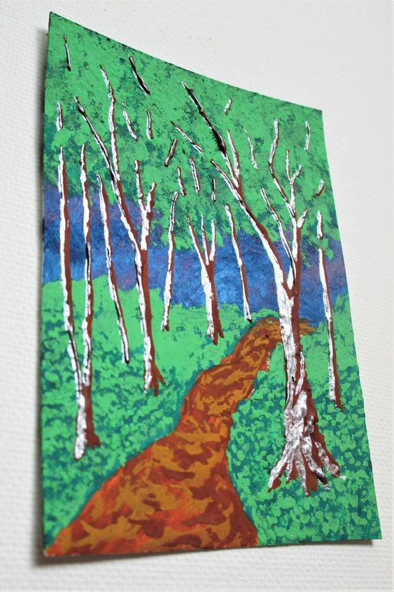 ARTIST TRADING CARDS Twilight Woods #113 2.5 x 3.5 by Mike Kraus