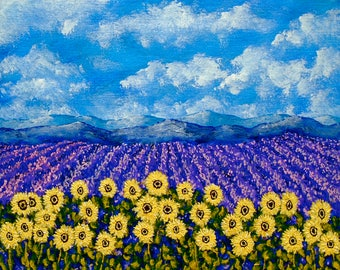 """Field of Lavender and Sunflowers (ORIGINAL ACRYLIC PAINTING) 8"""" x 10"""" by Mike Kraus"""