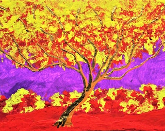 """Twilight Woods #289 (ARTIST TRADING CARDS) 2.5"""" x 3.5""""  by Mike Kraus - aceo atc collectibles art painting yellow red trees forest woods fun"""