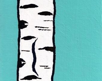 """Blue Birch Tree (ORIGINAL ACRYLIC PAINTING) 6"""" x 8"""" by Mike Kraus"""