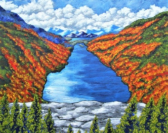 """A View of the Blue Mountains of the Adirondacks (ORIGINAL ACRYLIC PAINTING) 16"""" x 20"""" by Mike Kraus - art upstate ny new york landscape lake"""