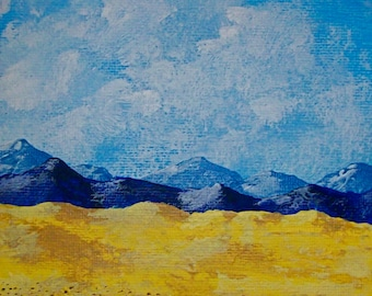 """Sunflowers and Lavender In Provence (ORIGINAL ACRYLIC PAINTING) 5"""" x 7"""" by Mike Kraus"""
