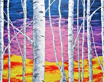 """Birch Forest (ORIGINAL ACRYLIC PAINTING) 36"""" x 48"""" by Mike Kraus - artwork aspen birch pink blue red yellow black white trees forest woods"""