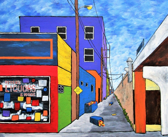 Chicago Alley Original Acrylic Painting 16 X 20 By Mike Kraus Cityscape Buildings House Home Architecture Chicago Illinois Midwest Fun