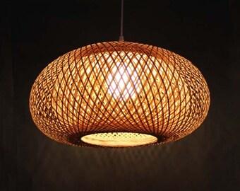 Bamboo pendant light etsy rural style classic hand woven from bamboo pendant lighting chandelier 110 240v50 60hz aloadofball Choice Image