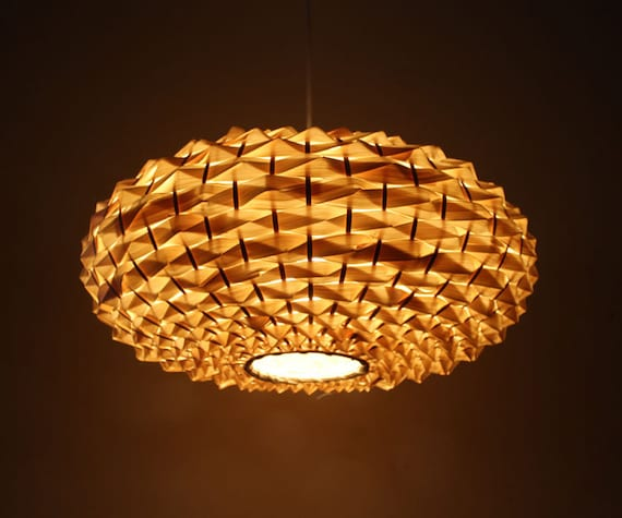 Bamboo Oval Table Lamp: Hand Woven Oval Shape Bamboo Light Fixtures-Pendant