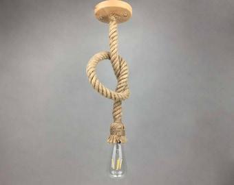 Hemp Rope Hanging Lamps-Pendant Lighting-Rope Lighting-Industrial Chandelier-Loft Vintage Lighting-Rustic Lamps-Wood Canopy-110-240V