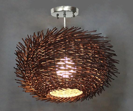 new product 52c21 300cb Flush Mount Bird Nest Shape Rattan Lightings-Ceiling Lighting-Decorative  Lighting-Corridor Lamps-Hallway Lighting-Bar Lamp-Entryway Lighting