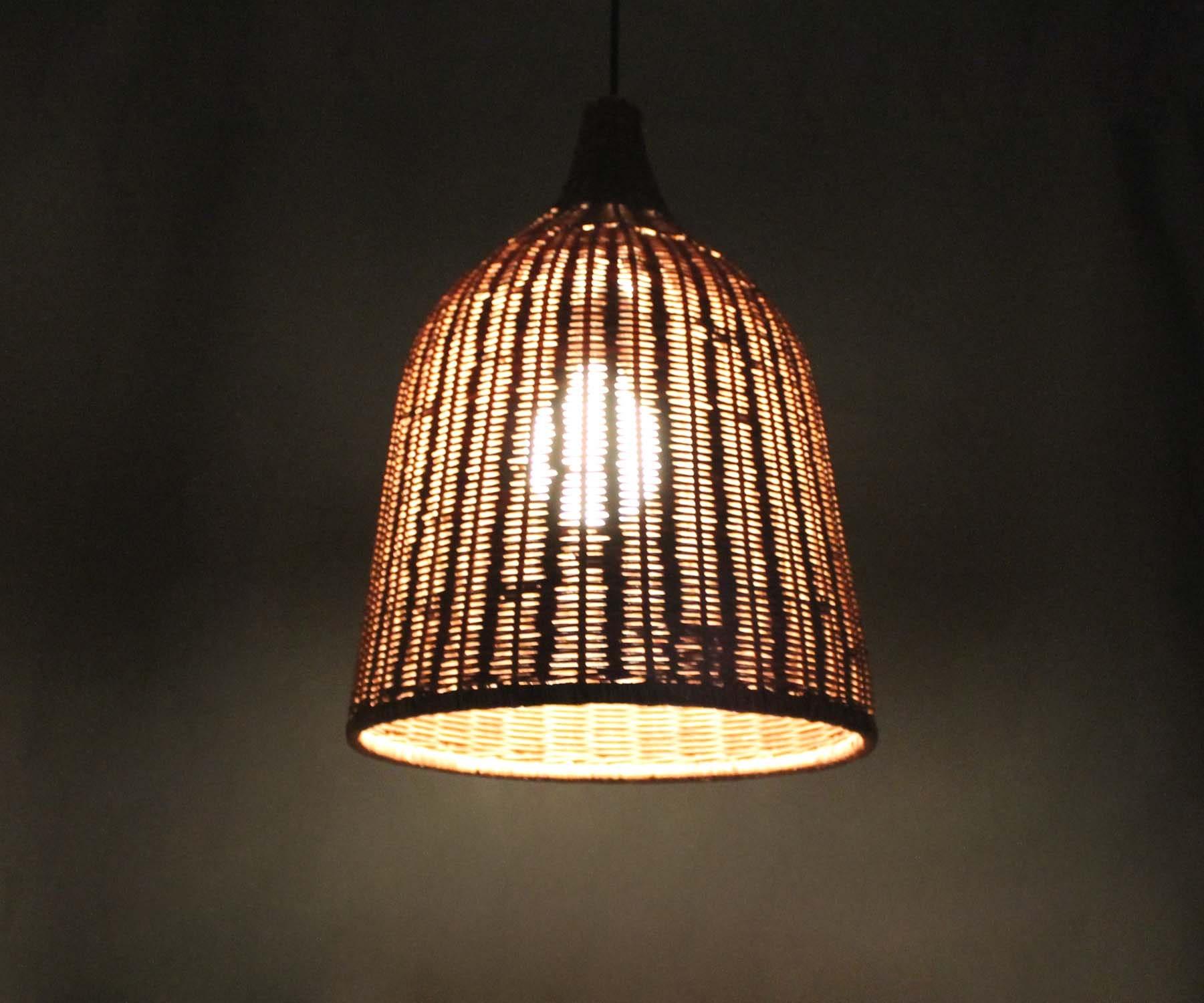 Brown Basket Rattan Pendant Light  Vintage Lighting  Brown