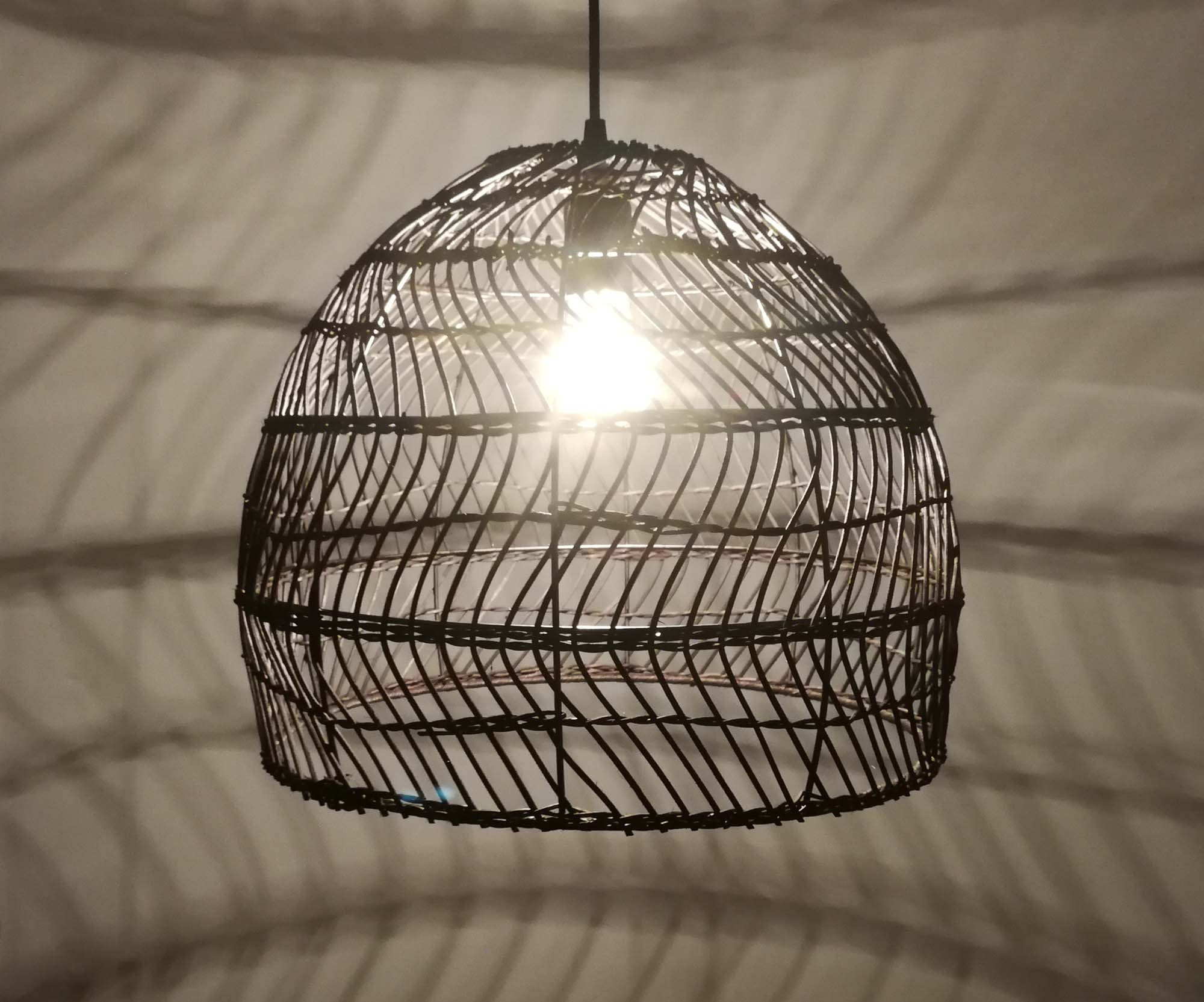 Bell-shaped Rattan Pendant Light  Natural rattan color or